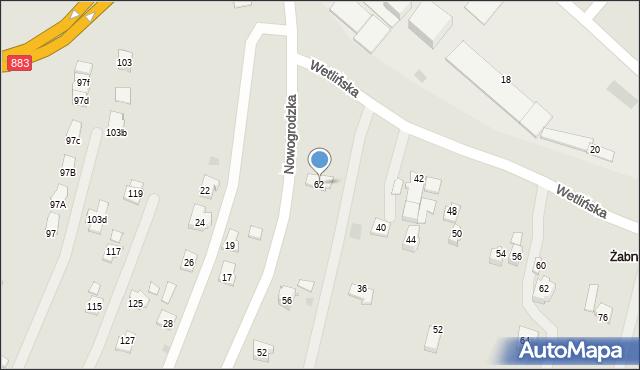 Rzeszów, Nowogrodzka, 62, mapa Rzeszów