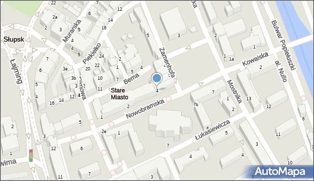 Słupsk, Nowobramska, 4, mapa Słupska