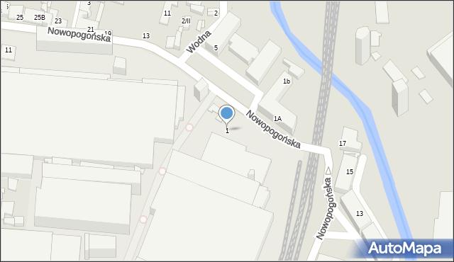 Sosnowiec, Nowopogońska, 1, mapa Sosnowca