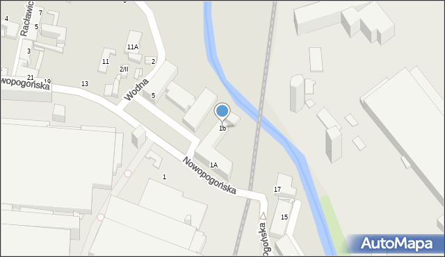 Sosnowiec, Nowopogońska, 1b, mapa Sosnowca