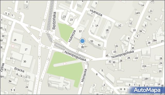 Sosnowiec, Nowopogońska, 55, mapa Sosnowca