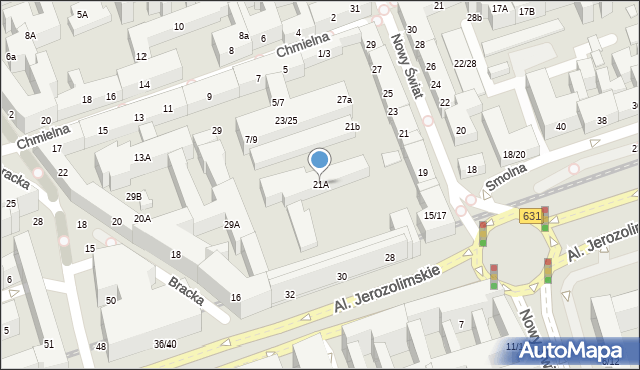 Warszawa, Nowy Świat, 21A, mapa Warszawy