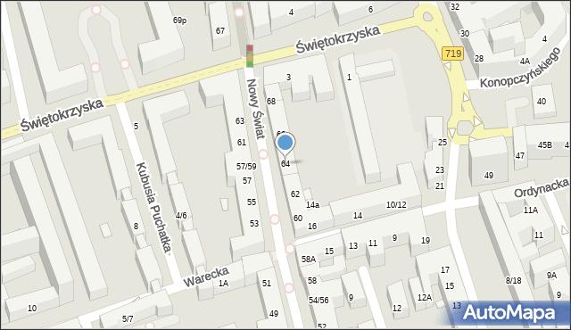 Warszawa, Nowy Świat, 64, mapa Warszawy