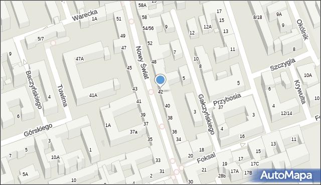 Warszawa, Nowy Świat, 42, mapa Warszawy