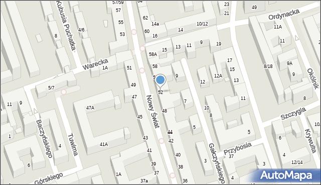 Warszawa, Nowy Świat, 52, mapa Warszawy