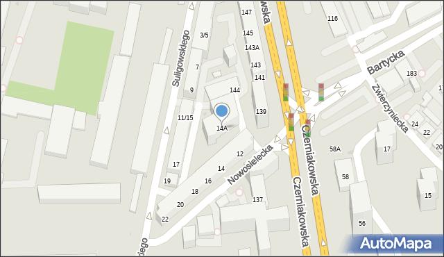 Warszawa, Nowosielecka, 14A, mapa Warszawy