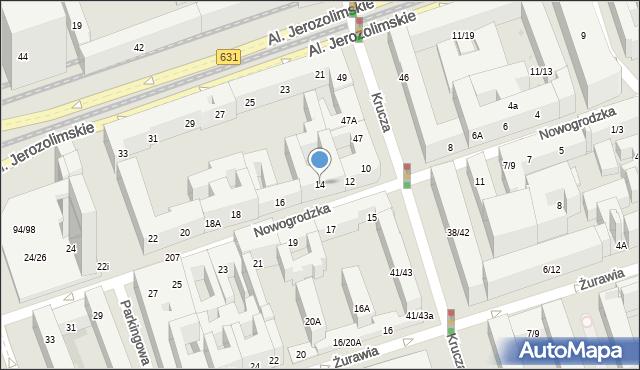 Warszawa, Nowogrodzka, 14, mapa Warszawy
