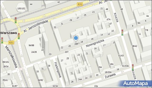 Warszawa, Nowogrodzka, 18A, mapa Warszawy