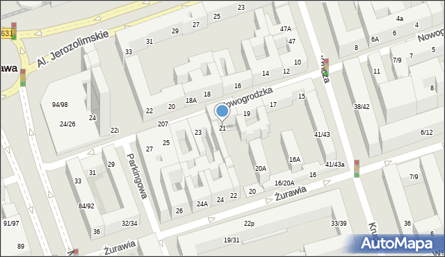Warszawa, Nowogrodzka, 21, mapa Warszawy
