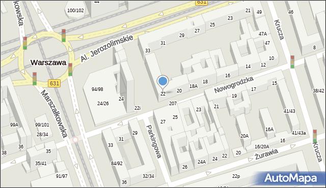 Warszawa, Nowogrodzka, 22, mapa Warszawy