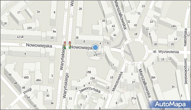 Warszawa, Nowowiejska, 1/3, mapa Warszawy