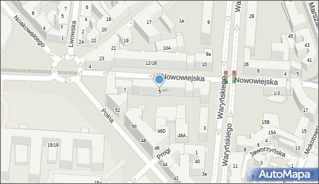 Warszawa, Nowowiejska, 5, mapa Warszawy