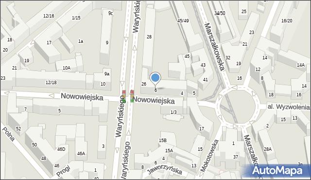 Warszawa, Nowowiejska, 6, mapa Warszawy