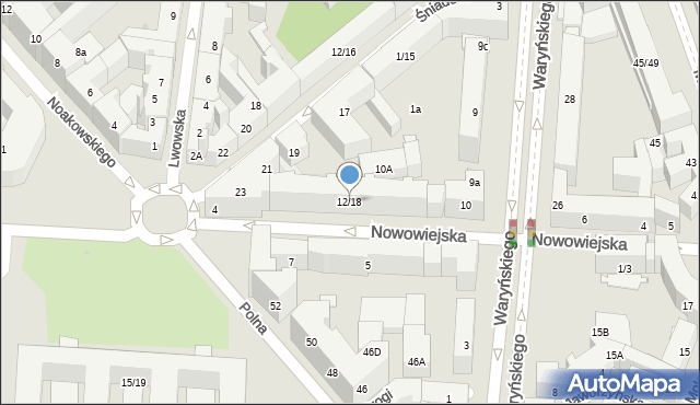 Warszawa, Nowowiejska, 12/18, mapa Warszawy
