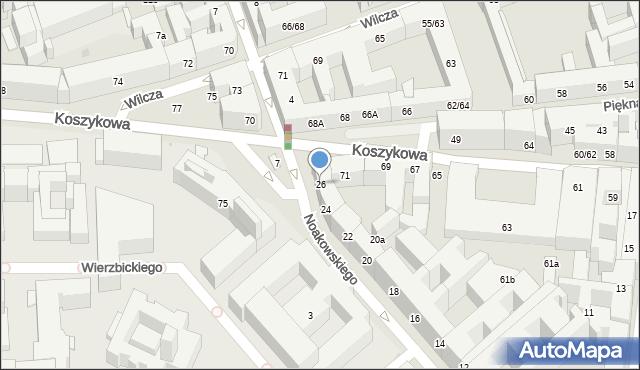 Warszawa, Noakowskiego Stanisława, 26, mapa Warszawy