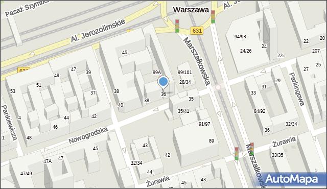 Warszawa, Nowogrodzka, 36, mapa Warszawy