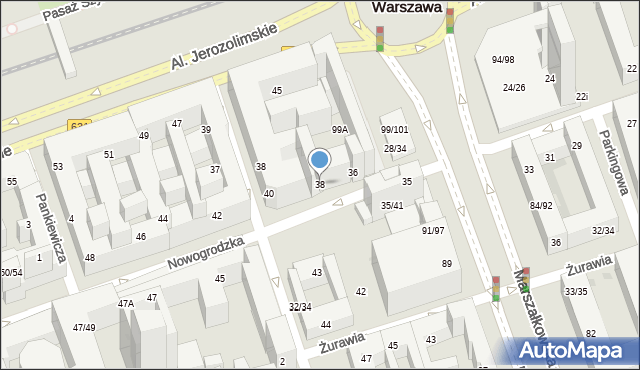 Warszawa, Nowogrodzka, 38, mapa Warszawy