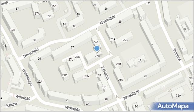 Warszawa, Nowolipki, 27B, mapa Warszawy