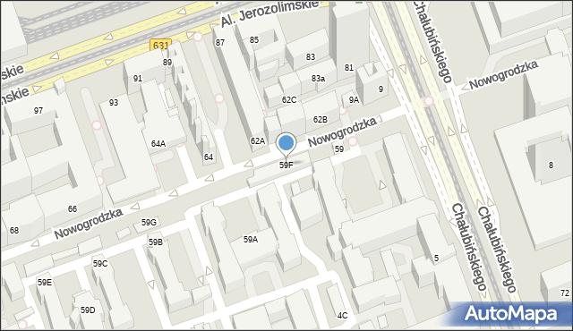 Warszawa, Nowogrodzka, 59F, mapa Warszawy