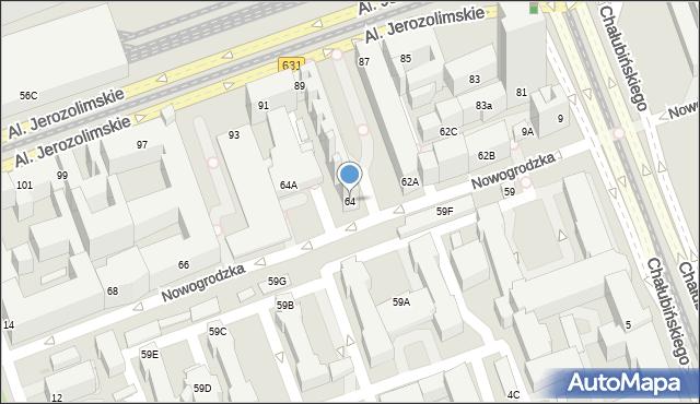 Warszawa, Nowogrodzka, 64, mapa Warszawy