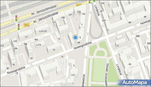 Warszawa, Nowogrodzka, 70/72, mapa Warszawy