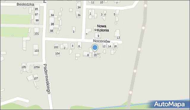 Zabrze, Noconiów, 10, mapa Zabrza