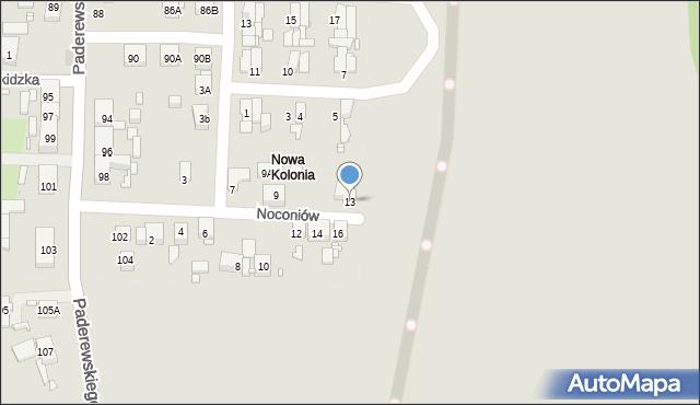 Zabrze, Noconiów, 13, mapa Zabrza