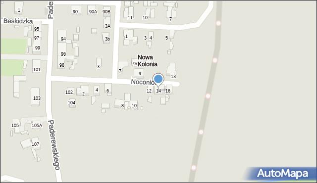 Zabrze, Noconiów, 14, mapa Zabrza