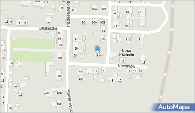 Zabrze, Noconiów, 3, mapa Zabrza