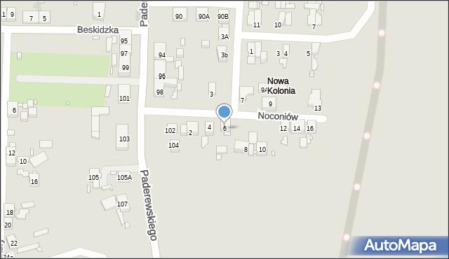 Zabrze, Noconiów, 6, mapa Zabrza