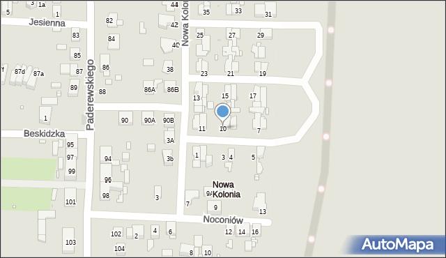 Zabrze, Nowa Kolonia, 10, mapa Zabrza