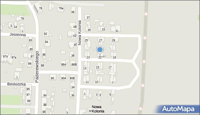 Zabrze, Nowa Kolonia, 21, mapa Zabrza