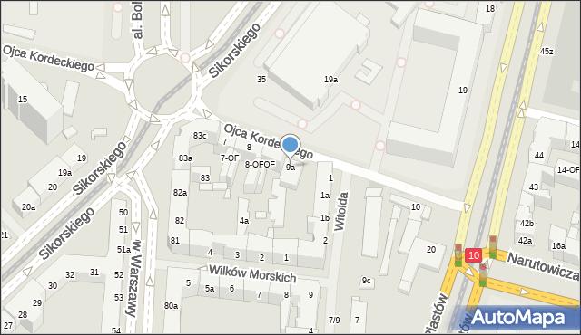 Szczecin, o. Augustyna Kordeckiego, 9a, mapa Szczecina