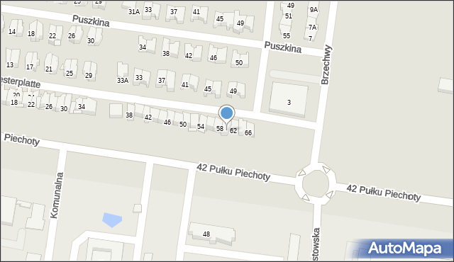Białystok, Obrońców Westerplatte, 60, mapa Białegostoku