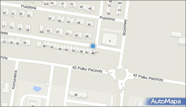Białystok, Obrońców Westerplatte, 66, mapa Białegostoku