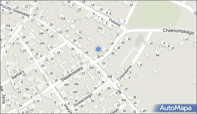 Jaworzno, Obrońców Poczty Gdańskiej, 31, mapa Jaworzno
