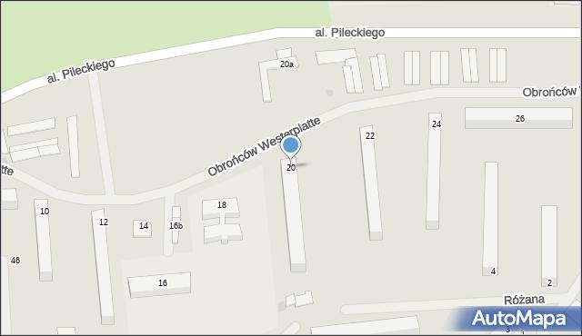 Kętrzyn, Obrońców Westerplatte, 20, mapa Kętrzyn