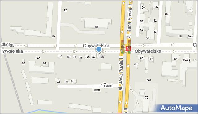 Łódź, Obywatelska, 72, mapa Łodzi