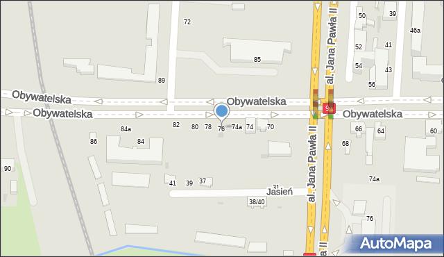 Łódź, Obywatelska, 76, mapa Łodzi