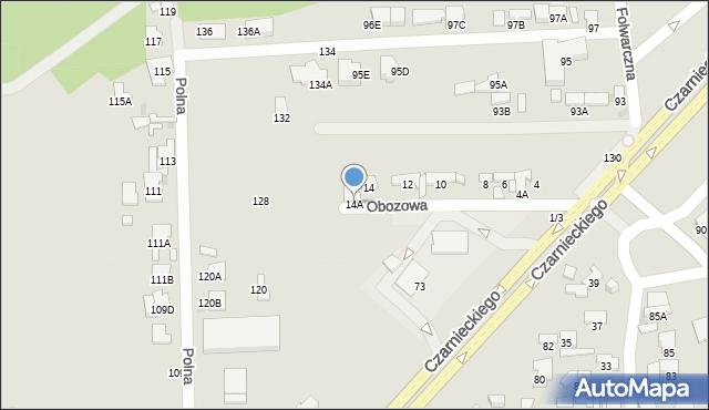 Radom, Obozowa, 14A, mapa Radomia