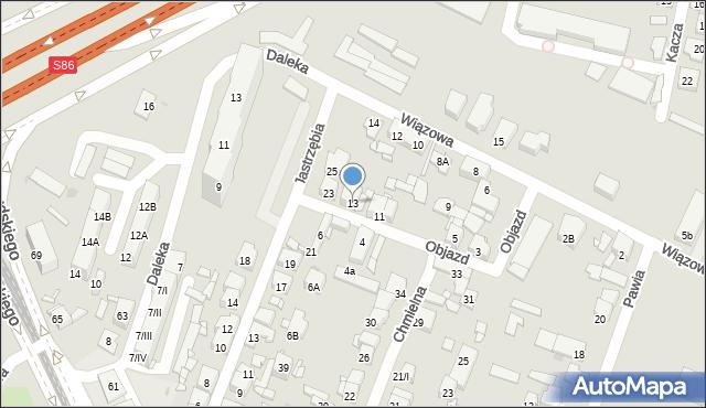 Sosnowiec, Objazd, 13, mapa Sosnowca