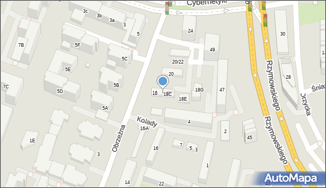 Warszawa, Obrzeżna, 18B, mapa Warszawy
