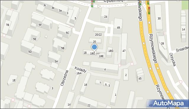 Warszawa, Obrzeżna, 18D, mapa Warszawy