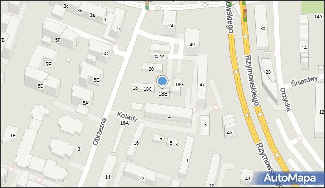 Warszawa, Obrzeżna, 18E, mapa Warszawy