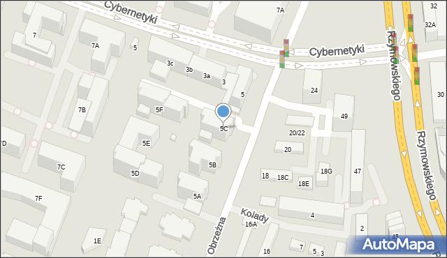 Warszawa, Obrzeżna, 5C, mapa Warszawy