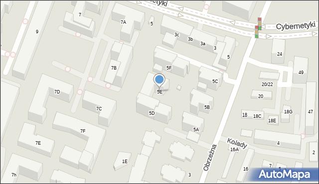 Warszawa, Obrzeżna, 5E, mapa Warszawy