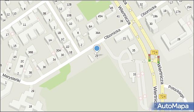 Warszawa, Obornicka, 23, mapa Warszawy