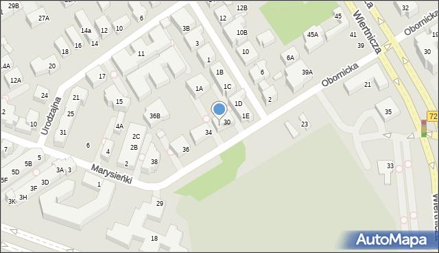 Warszawa, Obornicka, 32, mapa Warszawy