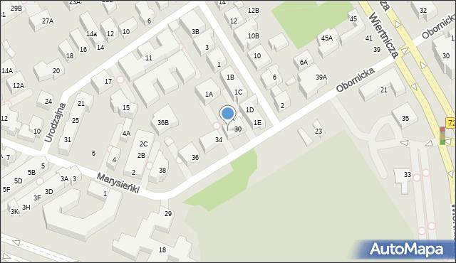 Warszawa, Obornicka, 32A, mapa Warszawy