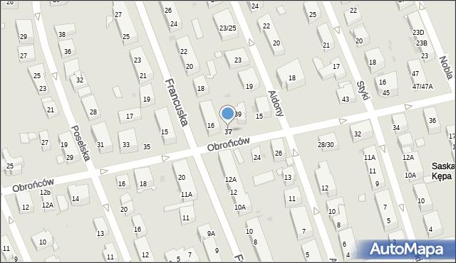 Warszawa, Obrońców, 37, mapa Warszawy